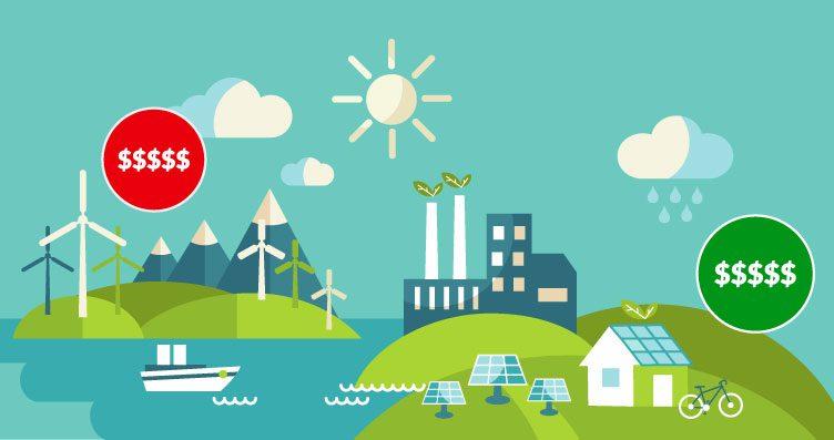 Energia solar mais barata: Ilustração da diferença entre solar e eólica