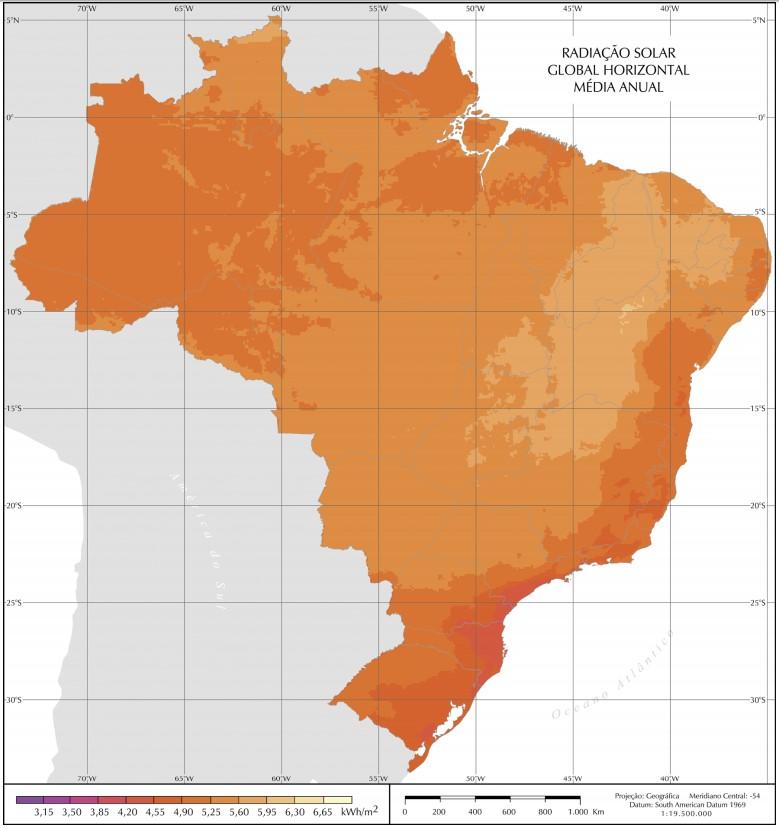 mapa radiação solar