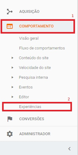 menu lateral google analytics