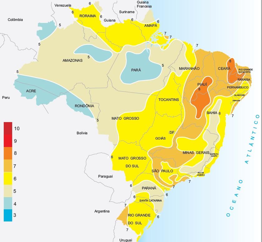 disponibilidade solar no brasil