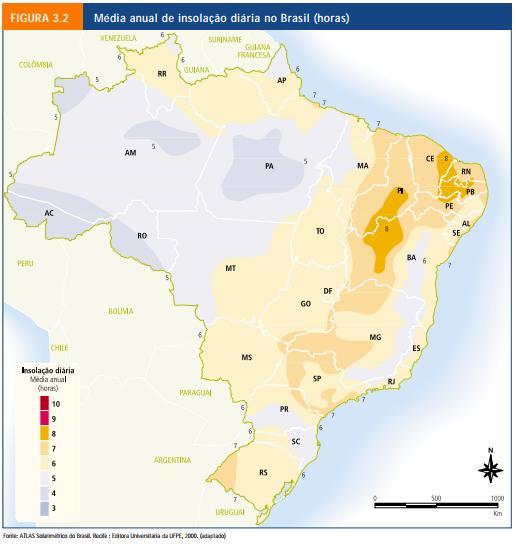 Como captar energia solar _ Mapa radiação solar Brasil