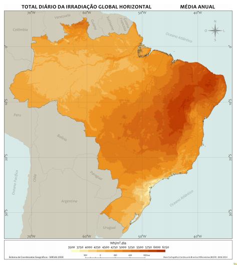 o que é energia solar _ mapa irradiação solar Brasil