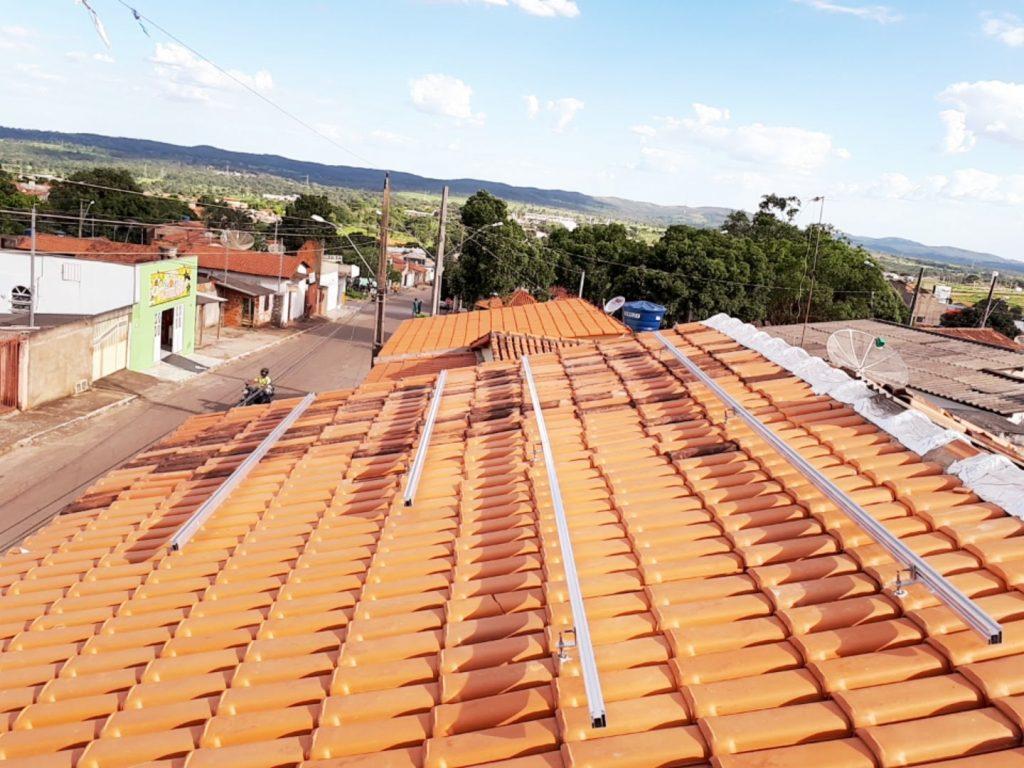 suporte para placa solar - parafuso estrutural sobre telha cerâmica