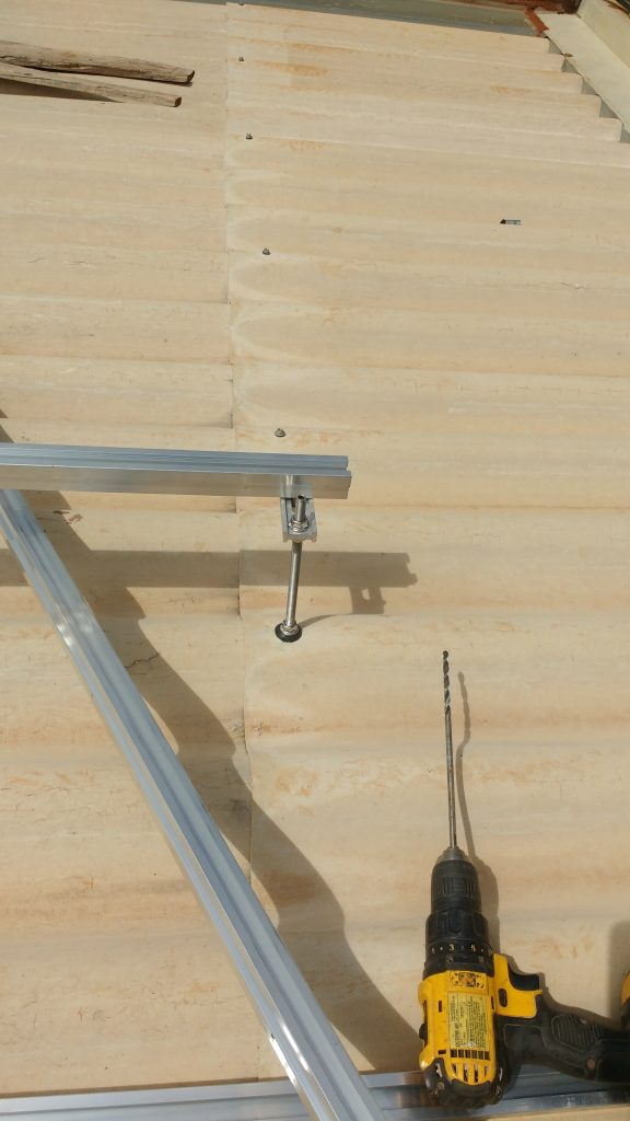 suporte para placa solar - parafuso estrutural sobre telha de fibrocimento