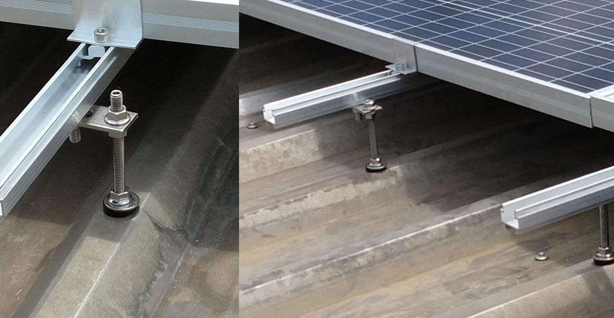 suporte para placa solar - parafuso estrutural sobre telhado metálico simples