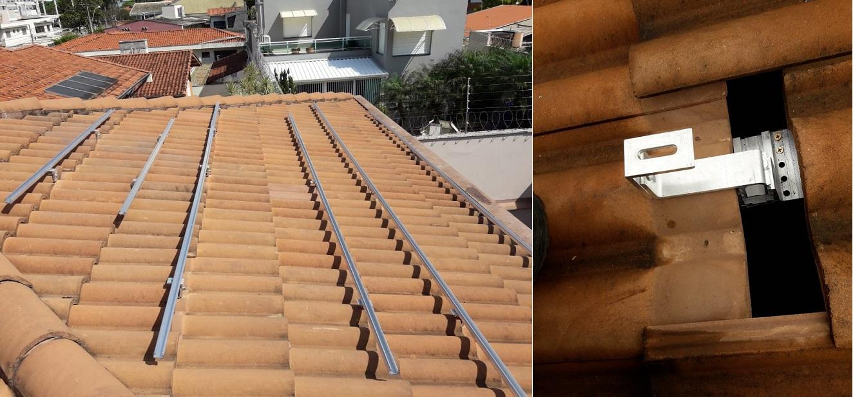 suporte para placa solar _ ganho comum instalado em telha cerâmica