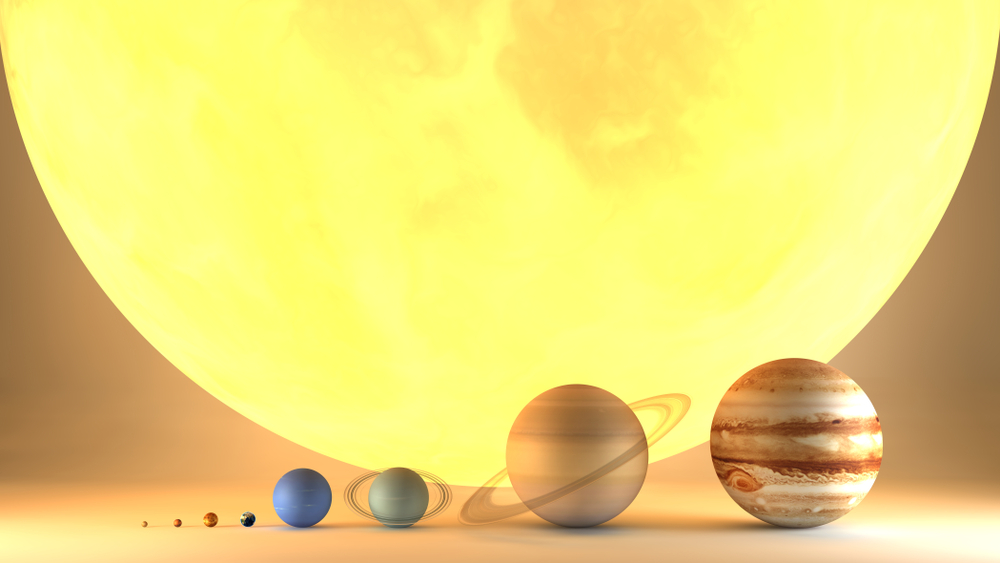 energia solar fotovoltaica _ representação gráfica da diferença de tamanho entre o sol e planetas