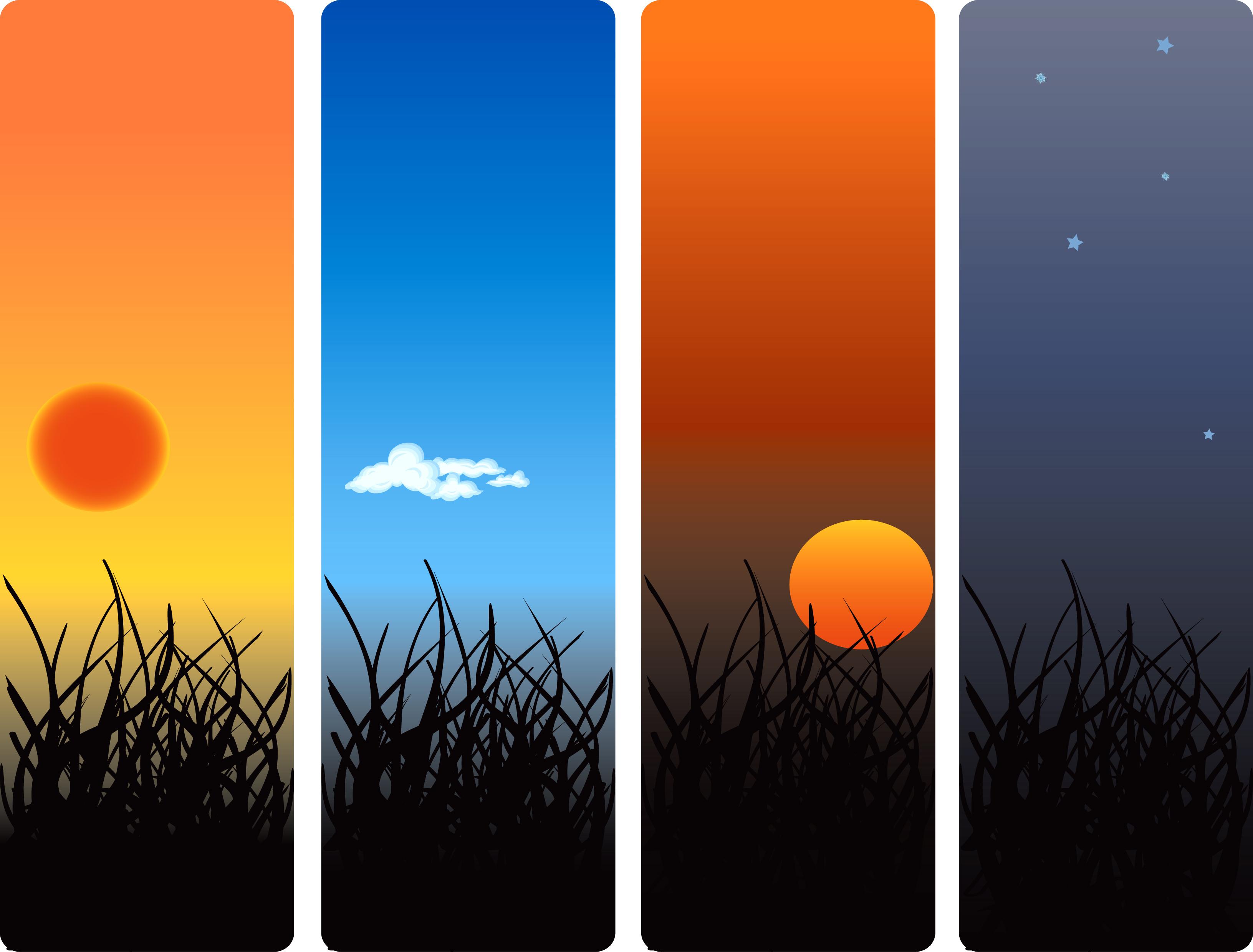 energia solar fotovoltaica _ ciclo diário do sol entre o amanhecer e o anoitecer