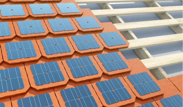 telha solar fotovoltaica _ representação