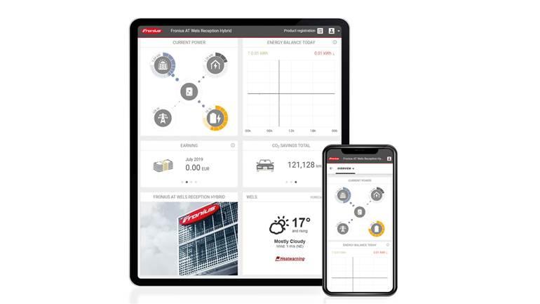 monitoramento energia solar - interface da plataforma da fronius